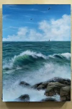 Canvas Painting Tutorials, Painting Techniques, Painting Lessons, Painting Tips, Landscape Art, Landscape Paintings, Ocean Paintings, Acrylic Landscape Painting, Art Oil Paintings