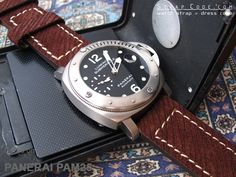 Panerai PAM25 on 24mm Rustic Brown Twill Villus on Calf Watch Strap for Pin-Buckle Use [CA242400BE076]
