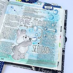I am normally not a cutsie sort of girl but I absolutely LOVE this bubbles and bunny Bible journaling entry from @elshartog! The blue and the cuteness and the bubbles makes me smile. Great job Els! --------------------
