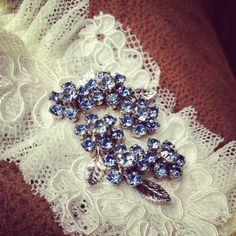 "Bridal Garter: Blue Vintage Stye Jewelry PIece, French Lace & Point d'Esprit Garter, ""SOMETHING BLUE"". $56.00, via Etsy."