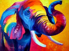 MATTED ARCHIVAL PRINT from original Acrylic Painting ,Elephant by Tetiana