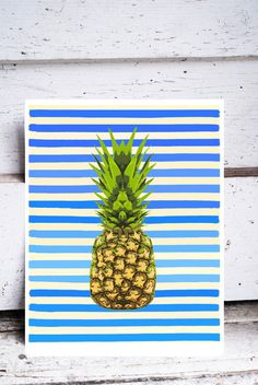 Pineapple - Original Art Print Blue and White Stripes Colorful Kitchen Art 11 x 14 Green Fruit Pop Art bright happy summer beach australia