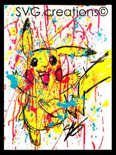 Hey, I found this really awesome Etsy listing at https://www.etsy.com/listing/256991313/pikachu-pokemon-abstract-modern-painting