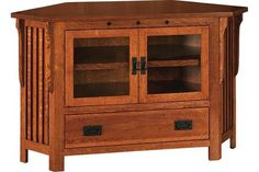 Amish Royal Mission Corner TV Stand Bring a corner to life in royal mission style. Available in two heights. Attractive storage and display area for your TV with classic mission style. #cornerTVstand