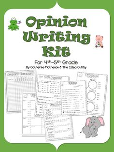 A complete opinion writing kit.  *Includes graphic organizers for how to pick a part a prompt, plan, give reasons, use appropriate transition words, edit, revise, and publish. Also includes a sample of each step and a rubric for grading.  This kit includes a scope and sequence with learning targets to guide students through the complete process of writing a 5 paragraph essay. $
