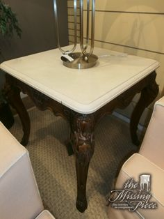 Ralph Lauren carved accent table with white marble top and signature hoof feet. Beautiful piece of furniture. Two in store at time of posting. Measures 29*29*29. Arrived: Monday January 9th, 2017