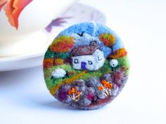 Fall Cottage Felt brooch, Sheep Brooch, Needle felted brooch, wool, Autumn Gold, Ireland, Scotland, Gift for her, landscape art, IWANTCRAFT