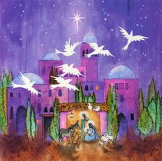 xmas card bethelehem | Doves Fly Over Bethlehem in Celebration, Rejoice! - 10 Pack