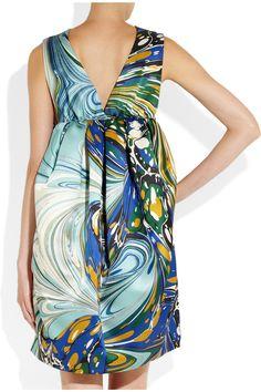 stella mccartney blue satin dress | Stella McCartney barton printed silk-satin dress 3