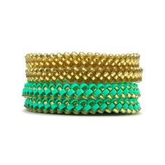 Lattice Bracelet Set Mint Gold