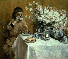 Afternoon Tea.- Isidore Verheyden (1846 – 1905, Belgian)