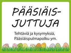 Pääsiäisjuttuja -sivulta löytyy Pääsiäispulmapolku, pääsiäissanapelejä, pääsiäisaiheisia kysymyskortteja ja virpomaloruja ryhmätoimintaan Special Education, Happy Easter, Kindergarten, Religion, Language, Teaching, How To Plan, School, Happy Easter Day