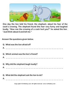 Read Comprehension Lion and Cock and Answer the Questions Worksheet First Grade Reading Comprehension, Picture Comprehension, Grade 1 Reading, Reading Comprehension Worksheets, Reading Passages, Reading Response, Comprehension Strategies, English Creative Writing, English Writing Skills