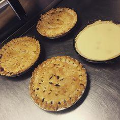 I've been busy baking pies! Today we have strawberry rhubarb raisin cherry and banana cream. #crosseyedgiraffe #cafe #bentleyalberta #pie #homemade #bananacreampie #cherrypie #raisinpie #strawberryrhubarbpie