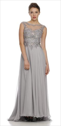 Jewel Neckline Studded Bodice A Line Silver Red Carpet Gown (3 Colors Available)