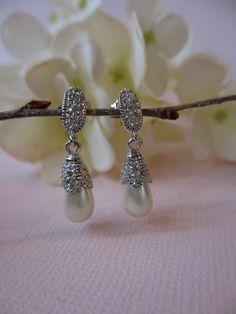 Pearl Dew Drop Wedding Earrings Bridal Special by UniqueJewelry