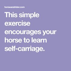 This simple exercise encourages your horse to learn self-carriage.
