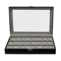 Clevr Watch Box Large 24 Mens Black Leather Display Glass Top Jewelry Case Organizer, Black