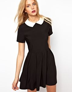 Lavish Alice Structured Skater Dress With Contrast Collar.