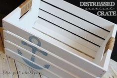 #DIY Distressed Anchor Crate | Great #DIY Storage Idea from @Diana Avery {the girl creative} | Supplies available at Joann.com or your local Jo-Ann Fabric and Craft Stores | #craftmonthlove