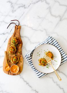 Vegan Chickpea Patties by @Sarah Yates / A House in The Hills | feat. @west elm's Gold Flatware + Olive Wood Paddle Board