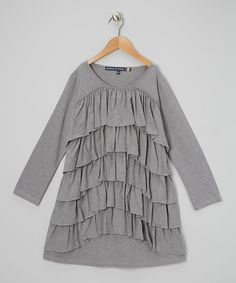 Take a look at this Heather Gray Ruffle Dress on zulily today!