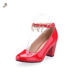 Ladies Metal Chain Platform Chunky Heels Round Toe Yellow Imitated Leather Boots - 9 B(M) US