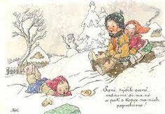 Výsledek obrázku pro kvěchová Jakub Schikaneder, Vintage Greeting Cards, Book Authors, Christmas Art, Painted Rocks, Landscape Paintings, Childrens Books, Diy And Crafts, Vintage World Maps