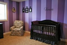 use these stripes on the bottom portion of the wall and then solid purple for the top portion in Autumn's room.