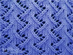 The zig zag lace stitch is an 8 row repeat and is knitted in a multiple of 6 stitches. Techniques used in this stitch: Slip slip knit: Ssk and Slip slip purl through back loop: Ssp Lace Knitting Stitches, Crochet Stitches Patterns, Knitting Charts, Lace Patterns, Loom Knitting, Knitting Designs, Stitch Patterns, Pull Bebe, Lana