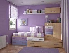 Teen Room, Charming Purple Girls Bedroom Ideas Furniture Bedroom Charming Purple Bedroom For Teenage Girls With Violet Wall Color And Wooden Wall Shelves And Space Saving: Finding the Most Popular and Cool Teenage Room Designs Nowadays Teenage Girl Bedrooms, Teen Bedroom, Childrens Bedroom, White Bedroom, Dream Bedroom, Bedroom Ideas For Small Rooms For Girls, Kid Bedrooms, Bedroom Simple, Lilac Bedroom