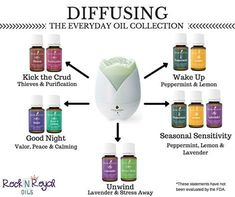 Awesome blends to diffuse! Peppermint & Lemon Thieves & Purification Valor, Peace & Calming Lavender & Stress Away Peppermint, Lavender, Lemon Wake up, Kick the Crud, Seasonal Sensitivity, Good Nights Sleep, Unwind Young Living Essential Oils. 100% Essential Oils, ALL Natural, SEED to SEAL Guarantee! World Leader in Essential Oils. For more information please visit out Rock N Royal Oils Page on Facebook, www.facebook.com/yleoKacerMathers or email me at ao8711@gmail.com