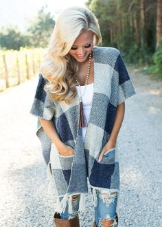 Boutique, Online Boutique, Women's Boutique, Modern Vintage Boutique, Cardigan, Plaid Cardigan, Blue and grey Cardigan, Cute, Fashion