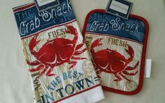 2 Pc Crab Shack Kitchen Towel Pot Holder #Nantucket