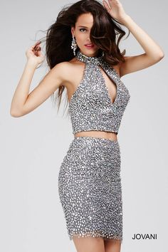 You NEED this #jovani 27843 silver embellished two piece for your next special occasion.