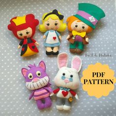 Alice in Wonderland doll pattern/ Felt Alice pocket doll/ Queen of Hearts doll/ Mad Hatter doll/ White Rabbit doll/ Cheshire cat doll Doll Sewing Patterns, Sewing Toys, Disney Diy, Disney Crafts, How To Make Ornaments, Felt Ornaments, Alice In Wonderland Diy, Felt Animal Patterns, Chesire Cat