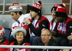 The Canadian men's hockey team was out in full force Saturday to watch Brad Jacobs take on Great Britain in the Sochi Olympics curling tournament. Uses size Olympic Curling, Women's Curling, Olympic Hockey, Canadian Men, Winter Games, Hockey Teams, Cool Hats, Curlers