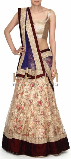 Buy this Featuring beige semi stitched lehenga with floral print only on Kalki