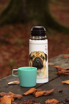 Pug 'Pugs & Kisses' Vacuum Flask with Cup Lid #pug #flask #accessories #giftware