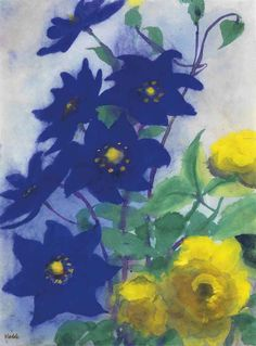 Emil Nolde (Danish/German 1867-1956), Blaue und gelbe Blüten, watercolor on Japan paper, 1935-40. Nolde's watercolors of flowers embody his desire to make art that blossomed as organically as nature. Fascinated by their symbolic connotations, he said: 'I loved the flowers and their destiny: shooting up, blooming, radiating, glowing, gladdening, drooping, wilting, and ultimately thrown away and dying. Our human destinies are by no means always so logical or so beautiful'. Christie's 2013.