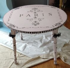 "SOLD: Kids ""PARIS"" Table: This darling little table is a garbage picked treasure. I hand painted it using DIY chalk paint."