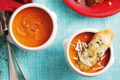 Tomato soup with cheese & sausage toasts