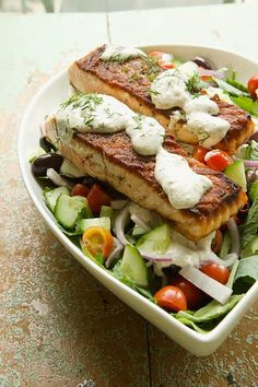 Here's a recipe you need to try this week: Greek Salmon Salad with Creamy Feta Dressing. Healthy and delicious! MarlaMeridith.com
