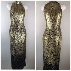 Vintage Black Tie Oleg Cassini Black Gold Sequin Maxi Evening Dress Ombré Women's sparkle glitter bling evening gown slinky by HazelHeartsVintage on Etsy https://www.etsy.com/listing/537590585/vintage-black-tie-oleg-cassini-black