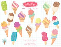 This SWEET SUMMER series features: ICECREAM!  ~ 16 yummy images including 11 black and white line art { a total 27 images }  ~ All files are 300 dpi {high resolution} and saved in png format {for transparency}  ~ For personal, educational, and small business use.