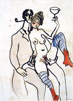 "Pablo Picasso: ""Angel Fernández de Soto avec une femme"", Barcelona, [January~Late-October]/1902 [~1903].Pen, sepia ink  watercolor on white paper.21 x 15,2 cm. Museu Picasso, Barcelona."