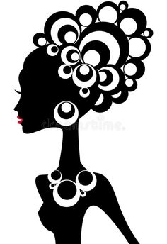 Illustration about Woman silhouette with black hair and jewels. Illustration of black, beautiful, face - 6588004 Black Woman Silhouette, Woman Silhouette, Tribal Art, Silhouette Art, Modern Art Paintings, Art, African Art, Artwork Painting, Vector Art