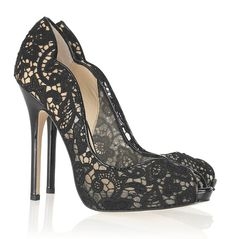 Jimmy Choo: Scalloped Lace Platform Pump. Seriously perfect