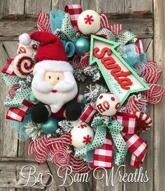 Santa Wreath, Whimsy Wonderland, Christmas Wreath Santa STOP Here! ❄️❤️❄️ Full of Whimsy and so much FUN~ featuring the cutest Santa and an adorable sign~ this wreath is sure to capture those who are a kid at heart! One of a kind~ will not be duplicated~ so don't miss out! Measures 26