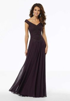 MGNY Madeline Gardner New York 72134 A-line chiffon Mother of the Bride dress with beaded embroidery, matching waistband, and off-the-shoulder neckline. Grey Prom Dress, Chiffon Dress Long, Perfect Prom Dress, Wedding Gown Sizes, Mori Lee Dresses, Mother Of The Bride Gown, Long Evening Gowns, Prom Dresses Online, Prom Gowns